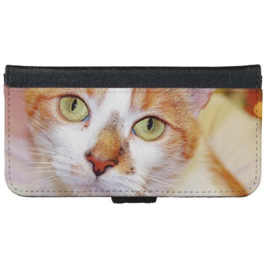 ORANGE AND WHITE CAT CELL PHONE CASE iPhone 6 WALLET CASE