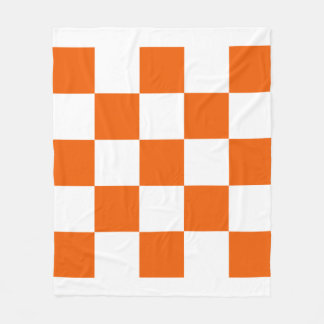 Orange and White Checkered Fleece Blanket