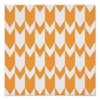 Orange and White Chevron Pattern. Poster