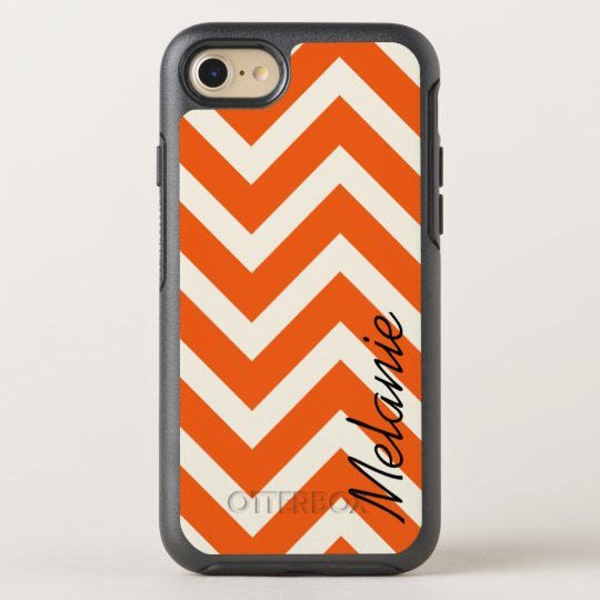 Orange and White Chevron Pattern with Monogram OtterBox Symmetry iPhone 8/7 Case