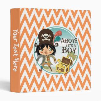 Orange and White Chevron Pirate Baby Shower 3 Ring Binders