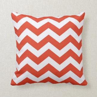 Orange and White Chevron Stripes Throw Pillow