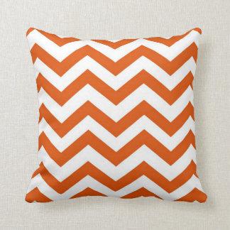 Orange and White Chevron Throw Pillow