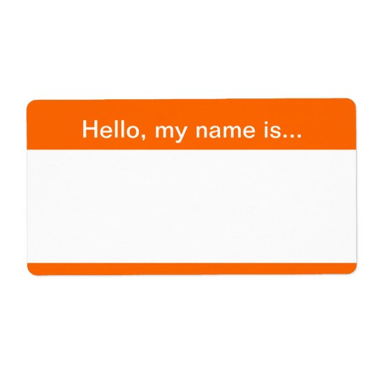 Orange and White Corporate Name Tag - Avery Label