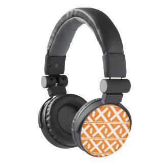 Orange and White Criss-Cross Headphones