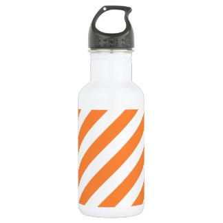 Orange and White Diagonal Stripes Pattern 532 Ml Water Bottle
