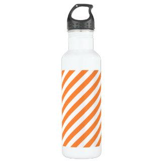 Orange and White Diagonal Stripes Pattern 710 Ml Water Bottle