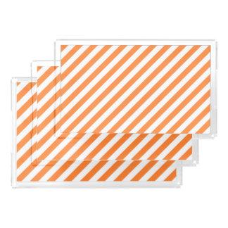 Orange and White Diagonal Stripes Pattern Acrylic Tray