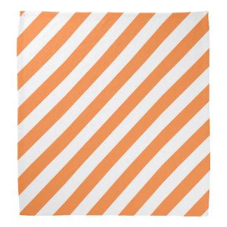 Orange and White Diagonal Stripes Pattern Bandana