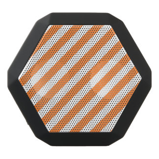 Orange and White Diagonal Stripes Pattern Black Bluetooth Speaker