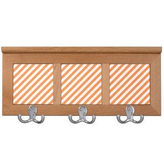 Orange and White Diagonal Stripes Pattern Coat Racks