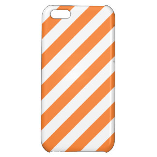 Orange and White Diagonal Stripes Pattern iPhone 5C Covers
