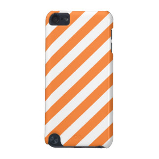 Orange and White Diagonal Stripes Pattern iPod Touch 5G Case