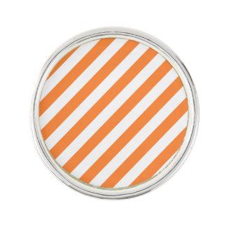 Orange and White Diagonal Stripes Pattern Lapel Pin