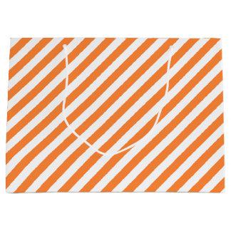 Orange and White Diagonal Stripes Pattern Large Gift Bag