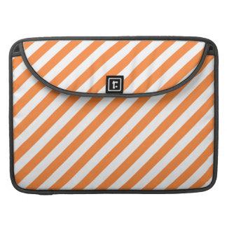 Orange and White Diagonal Stripes Pattern MacBook Pro Sleeve