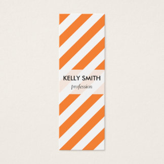 Orange and White Diagonal Stripes Pattern Mini Business Card