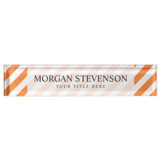 Orange and White Diagonal Stripes Pattern Nameplate