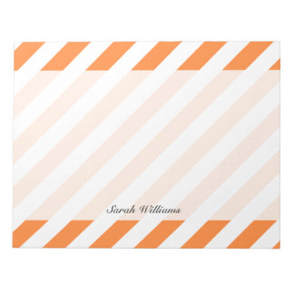 Orange and White Diagonal Stripes Pattern Notepad