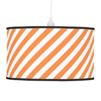 Orange and White Diagonal Stripes Pattern Pendant Lamp