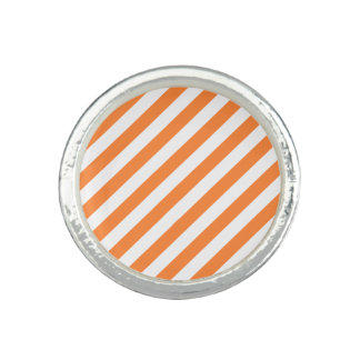 Orange and White Diagonal Stripes Pattern Photo Ring