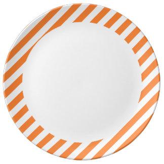 Orange and White Diagonal Stripes Pattern Plate