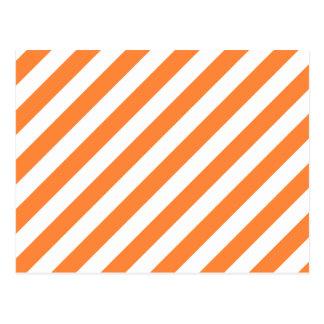 Orange and White Diagonal Stripes Pattern Postcard