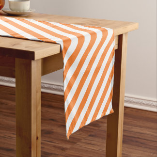 Orange and White Diagonal Stripes Pattern Short Table Runner
