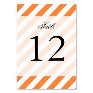 Orange and White Diagonal Stripes Pattern Table Cards