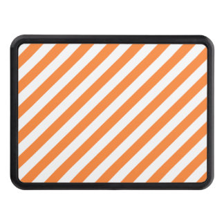 Orange and White Diagonal Stripes Pattern Trailer Hitch Cover