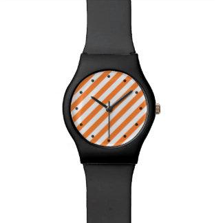 Orange and White Diagonal Stripes Pattern Wrist Watches