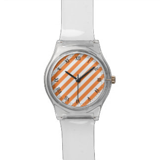 Orange and White Diagonal Stripes Pattern Wristwatch