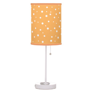 Orange and White Dotty Pattern. Table Lamp
