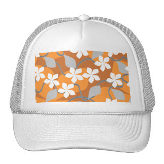 Orange and White Flowers Floral Pattern Trucker Hats