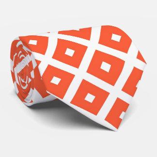 Orange And White Geometric Checkered Pattern Tie