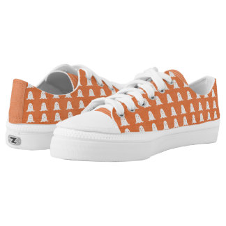 Orange and White Ghosts Low-Top Sneakers