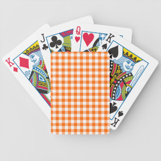 Orange and White Gingham Bicycle Playing Cards