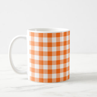 Orange and White Gingham Checked Pattern Coffee Mug