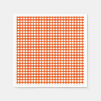 Orange and White Gingham Pattern Disposable Napkin