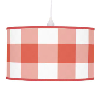 Orange and White Gingham Pattern Pendant Lamp