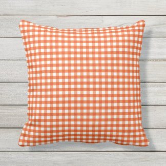 Orange and White Gingham Pattern Throw Pillow