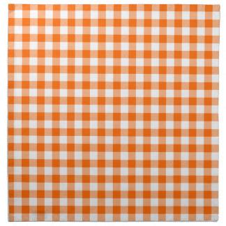 Orange and White Gingham Printed Napkin