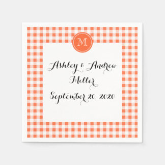 orange and White Gingham, Your Monogram Paper Napkin