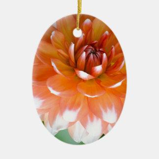 Orange and White Glory Ceramic Ornament