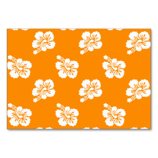 Orange and White Hawaiian Hibiscus Floral Pattern Table Card