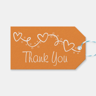 Orange And White Hearts Love Thank You Party Gift Tags