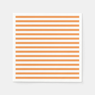 Orange and White Horizontal Stripe Disposable Napkins