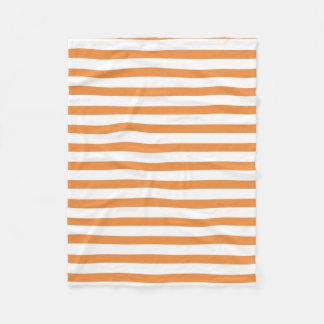 Orange and White Horizontal Stripe Fleece Blanket