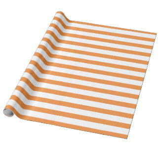 Orange and White Horizontal Stripe Wrapping Paper