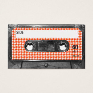 Orange and White Houndstooth Label Cassette Business Card